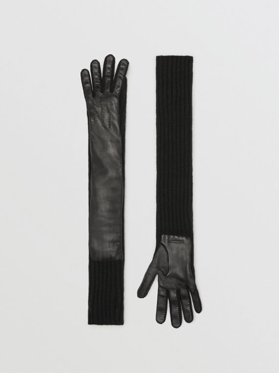 Cashmere and Lambskin Longline Gloves in Black