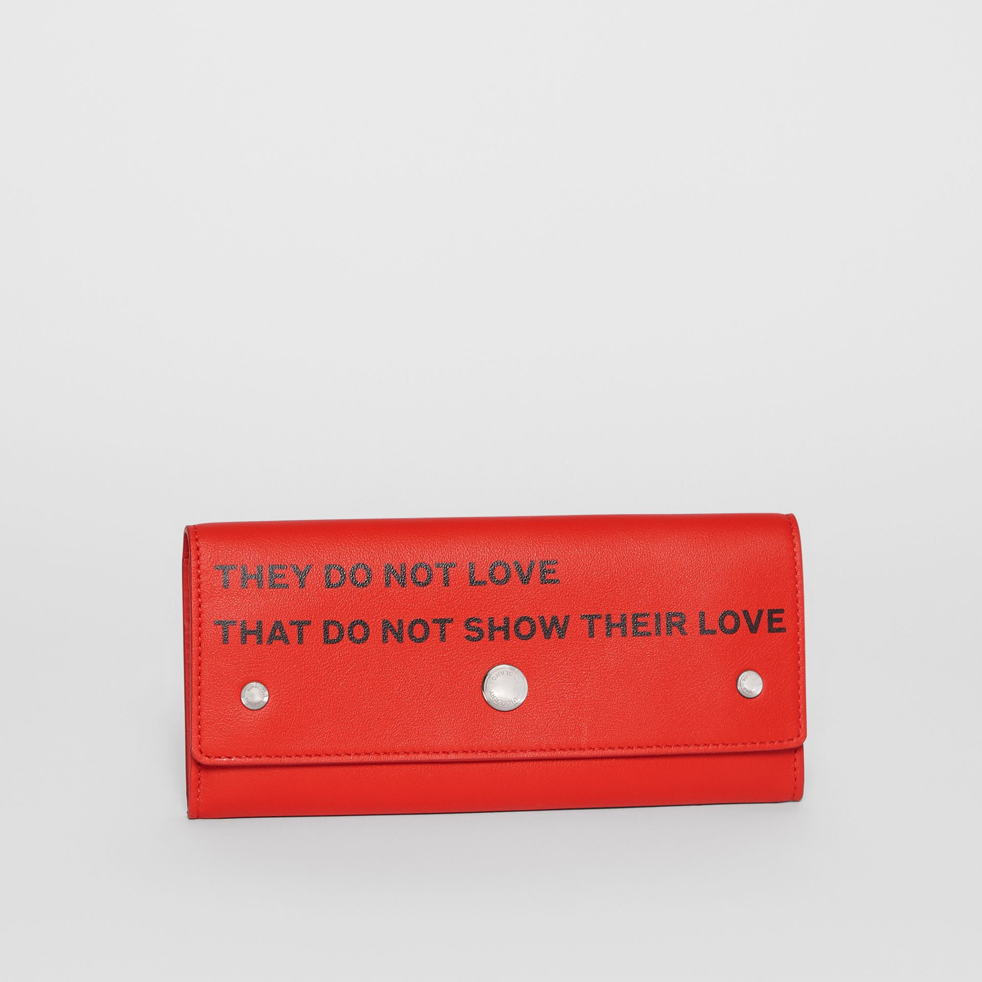 Quote Print Leather Continental Wallet in Bright Military Red - Women | Burberry United Kingdom - gallery image 4