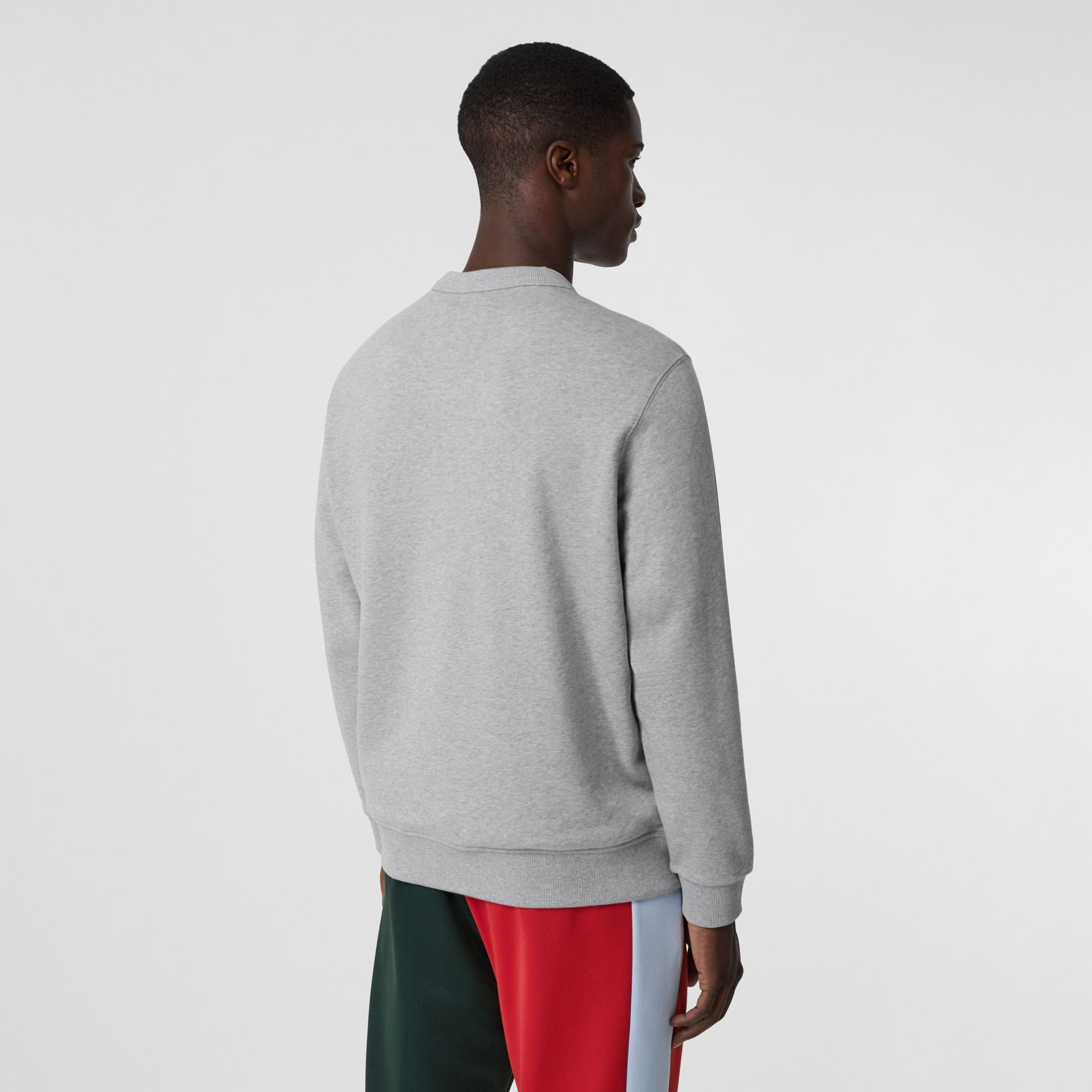 Logo Appliqué Cotton Sweatshirt in Pale Grey Melange - Men | Burberry - gallery image 2