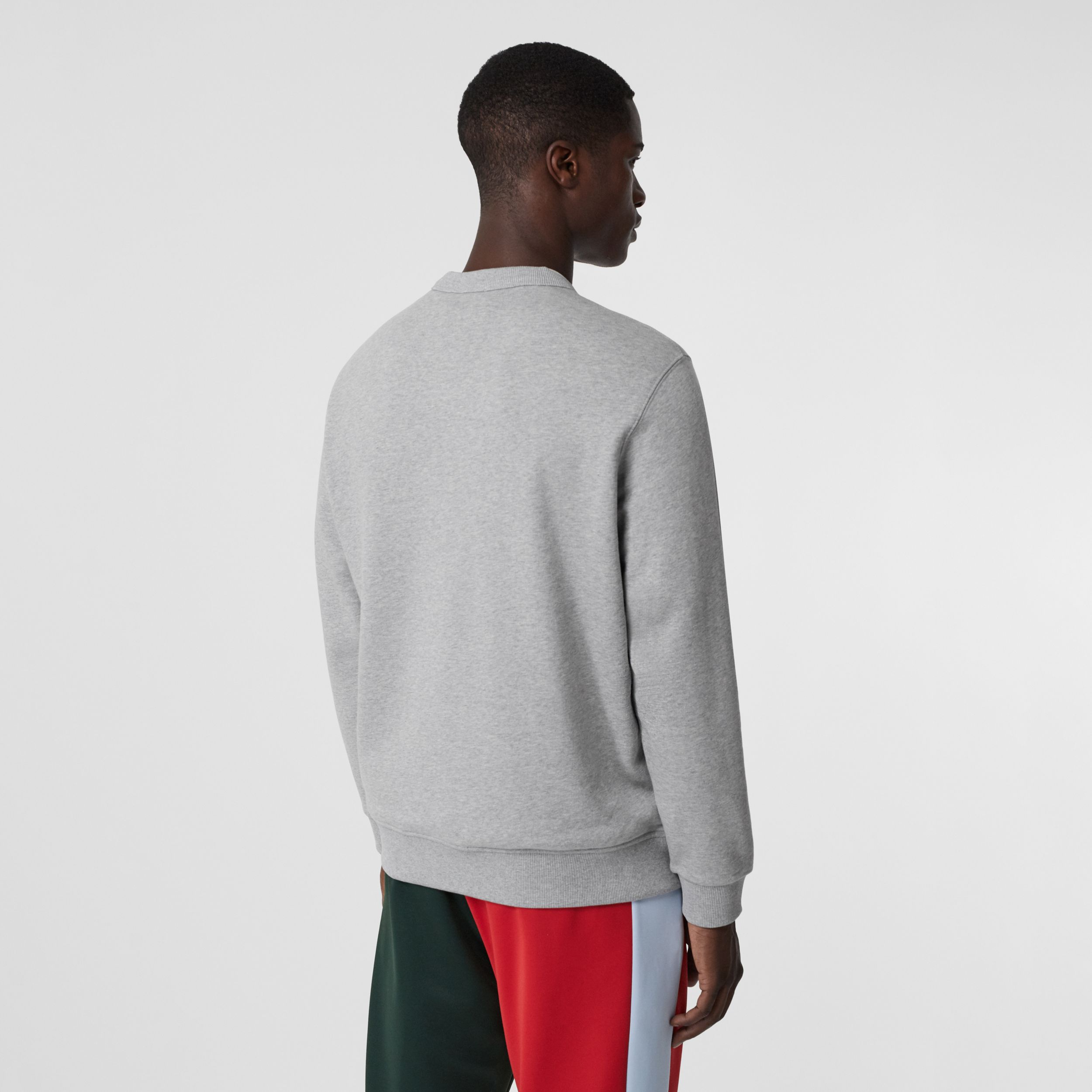 Logo Appliqué Cotton Sweatshirt in Pale Grey Melange - Men | Burberry - 3