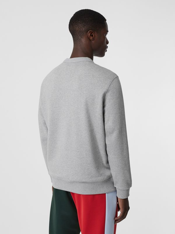 Logo Appliqué Cotton Sweatshirt in Pale Grey Melange - Men | Burberry Singapore - cell image 2
