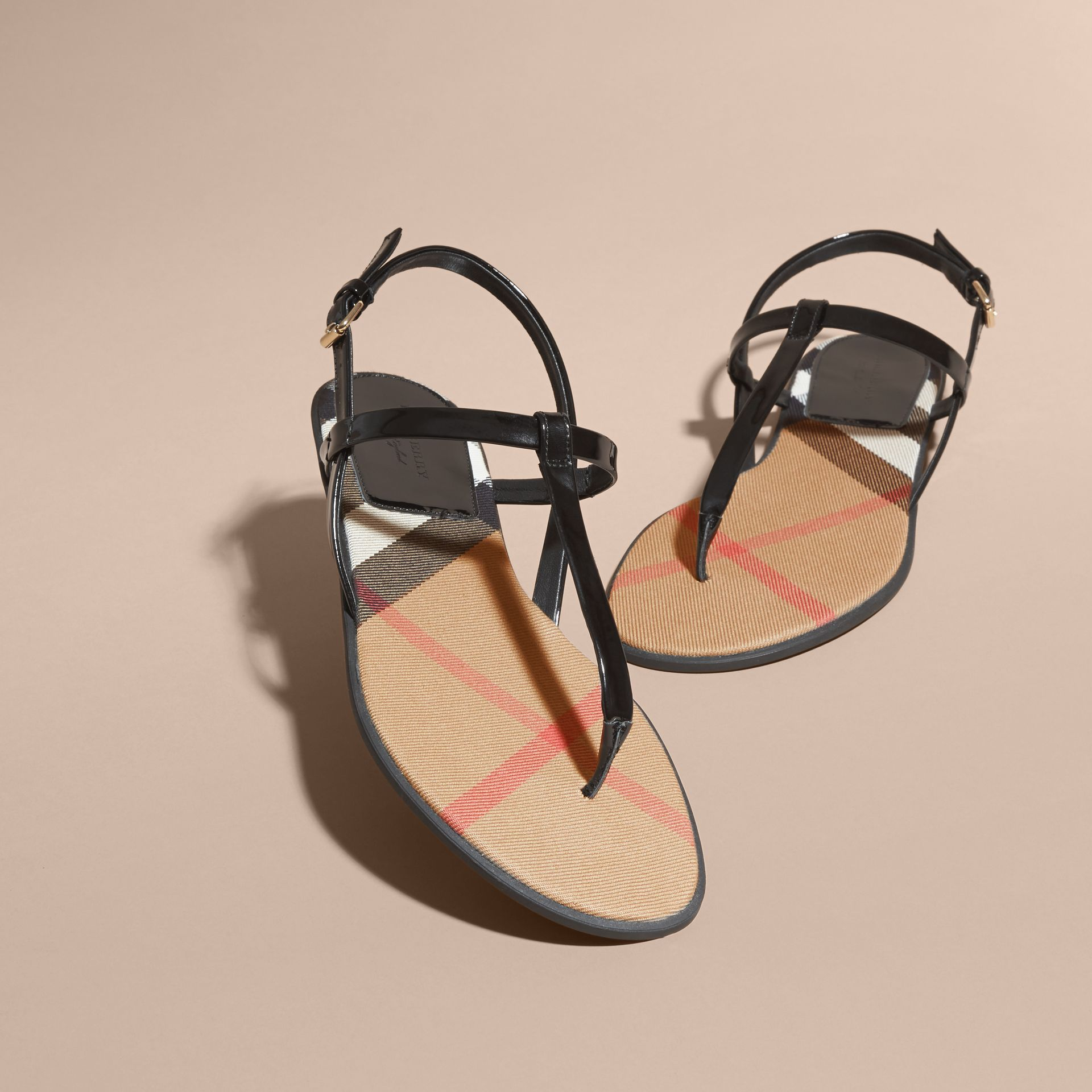 House Check-lined Leather Sandals - Women | Burberry - gallery image 3