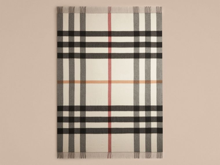 Ivory check Check Cashmere Blanket - cell image 1