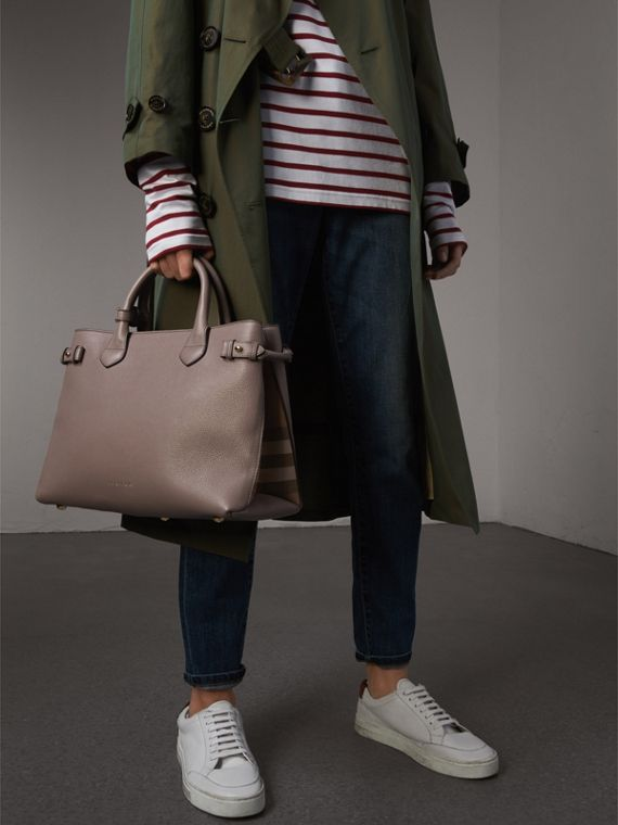 The Medium Banner aus Leder mit House Check-Muster (Distelgrau) - Damen | Burberry - cell image 3