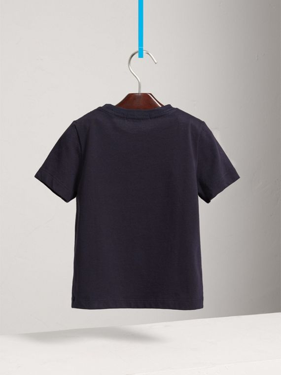 Check Pocket Cotton T-shirt in True Navy - Boy | Burberry United States - cell image 3