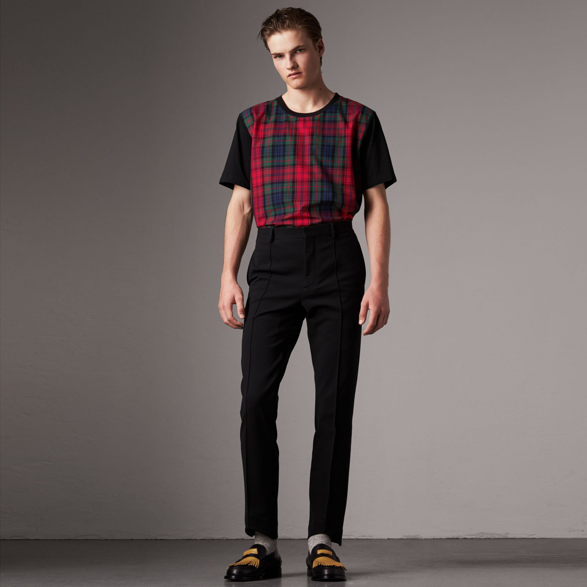 Tartan Panel Cotton T-shirt in Black - Men | Burberry - gallery image 0