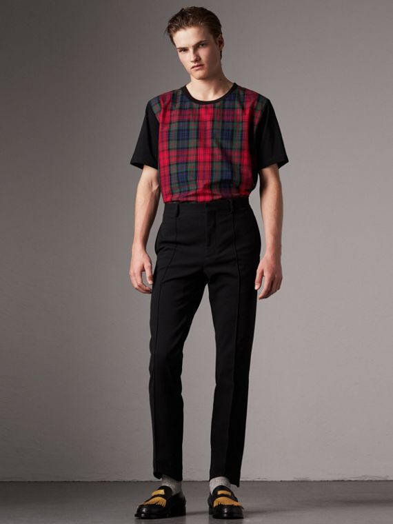 Tartan Panel Cotton T-shirt in Black