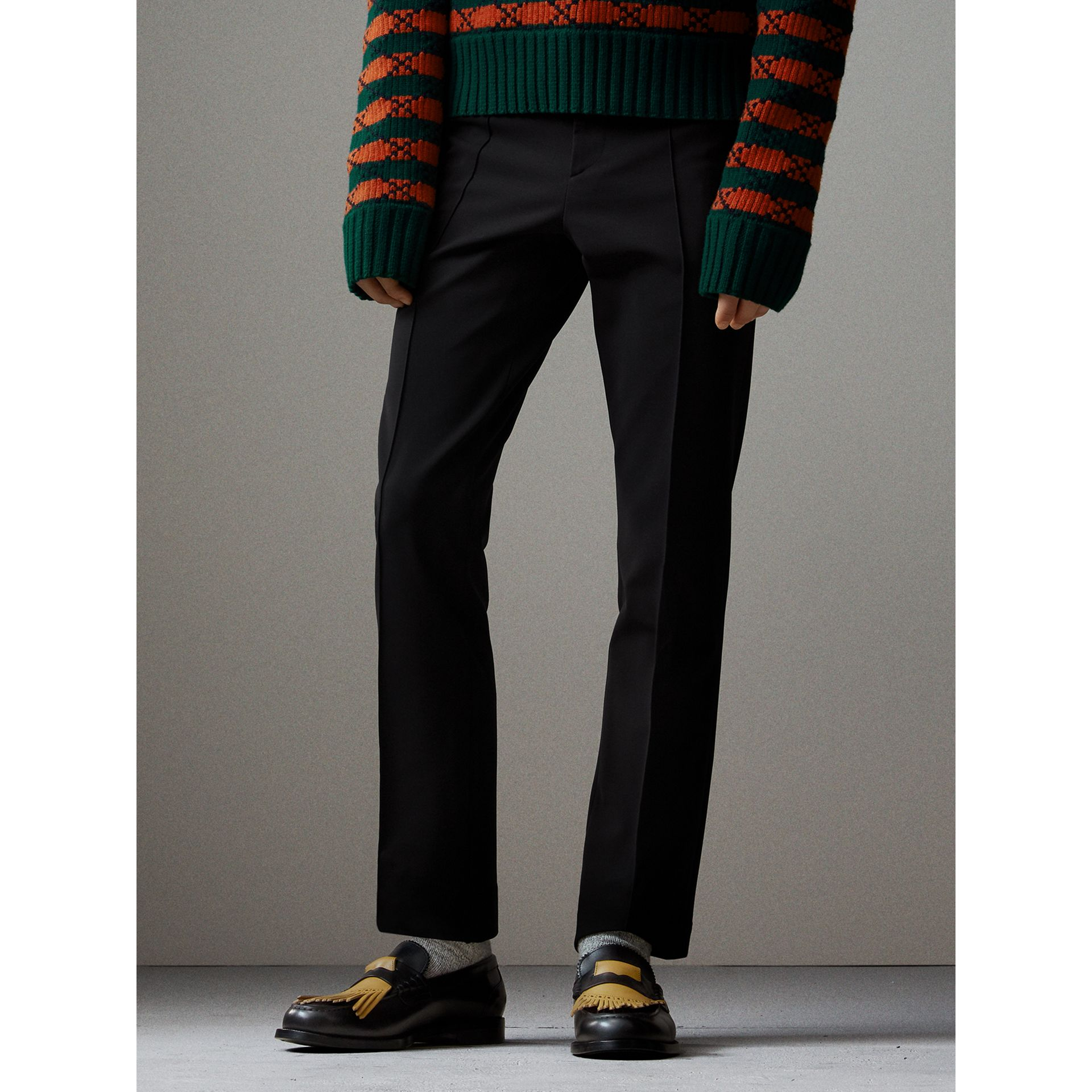 Jersey Cropped Tailored Riding Trousers in Black - Men | Burberry - gallery image 7
