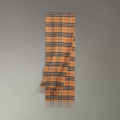 BURBERRY The Classic Rainbow Vintage Check Cashmere Scarf in Brown