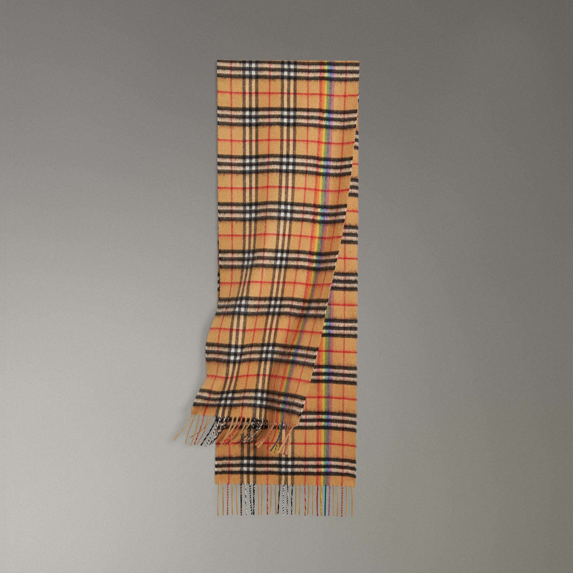 The Classic Rainbow Vintage Check Cashmere Scarf in Antique Yellow | Burberry - gallery image 0