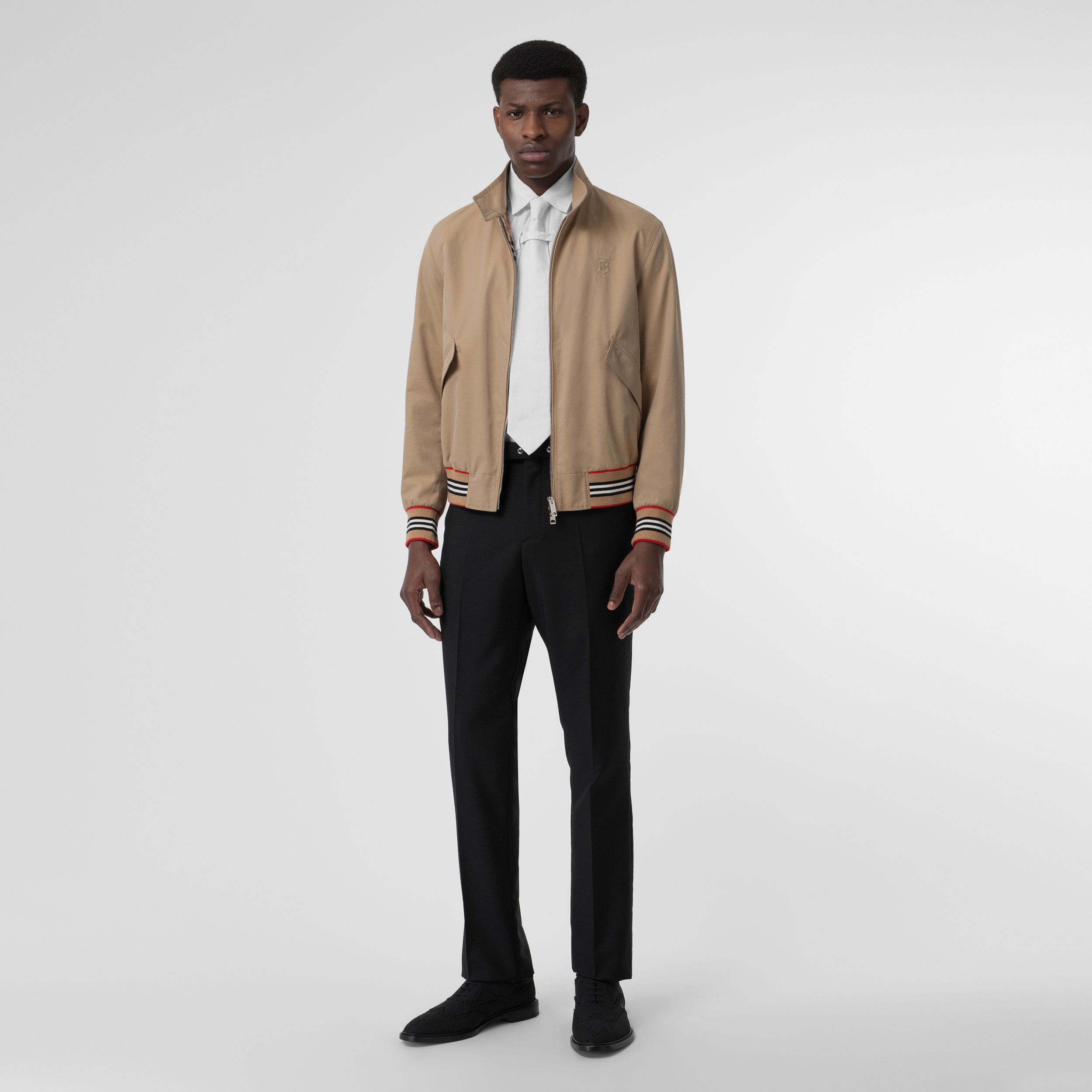 Icon Stripe Detail Cotton Gabardine Harrington Jacket in Honey - Men | Burberry - 1