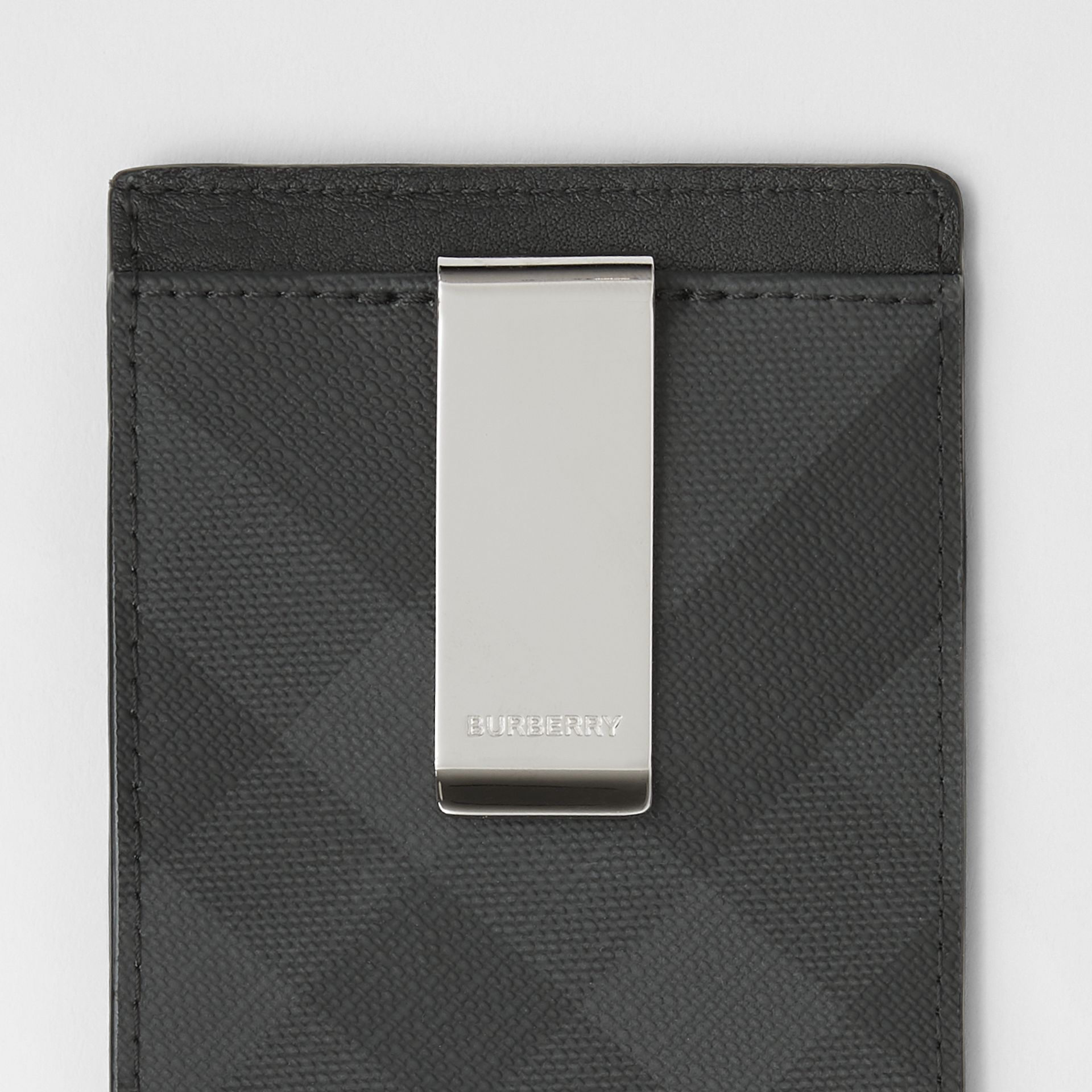 London Check and Leather Money Clip Card Case in Dark Charcoal - Men | Burberry - gallery image 1
