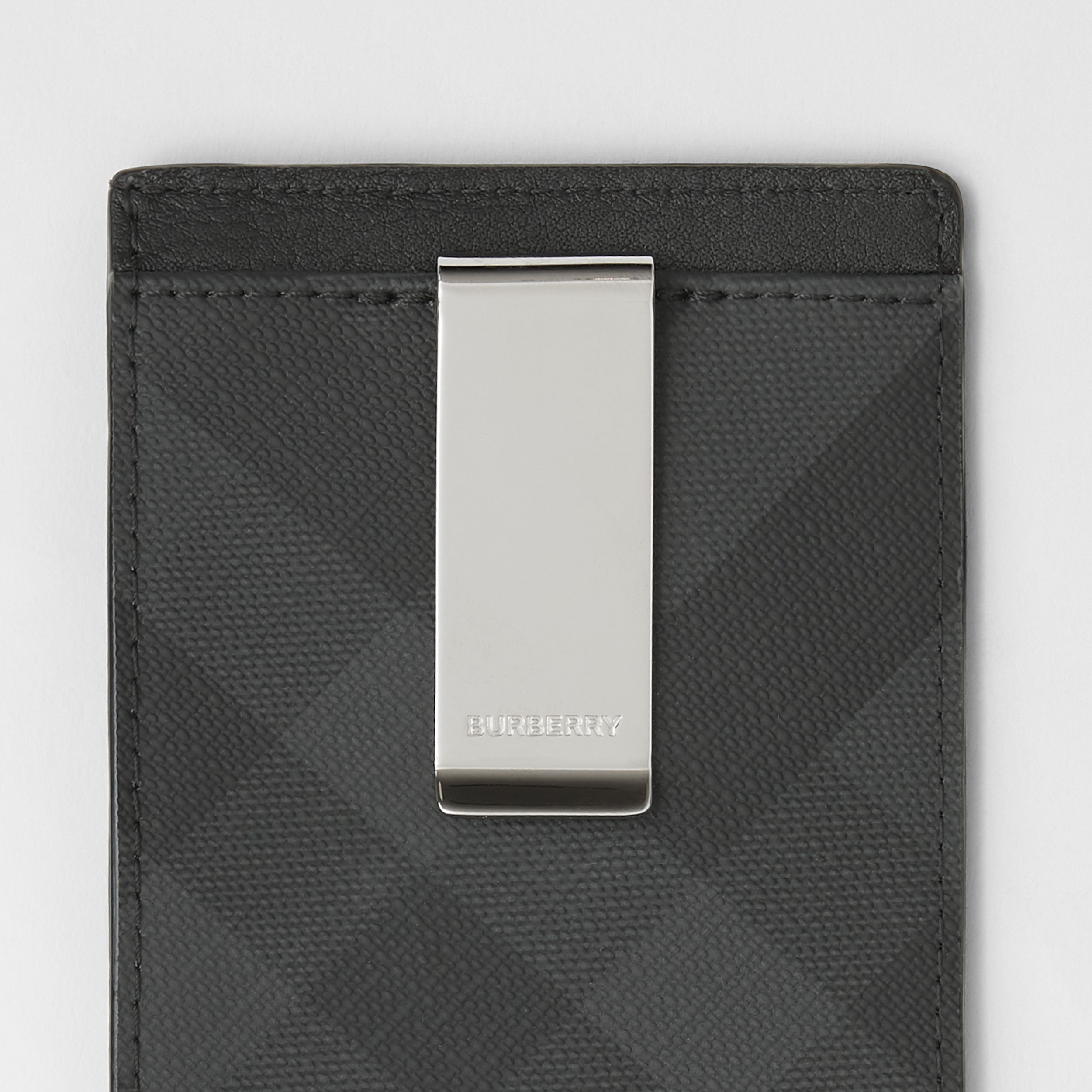London Check and Leather Money Clip Card Case in Dark Charcoal - Men | Burberry - 2