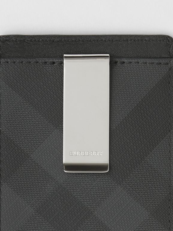 London Check and Leather Money Clip Card Case in Dark Charcoal - Men | Burberry - cell image 1