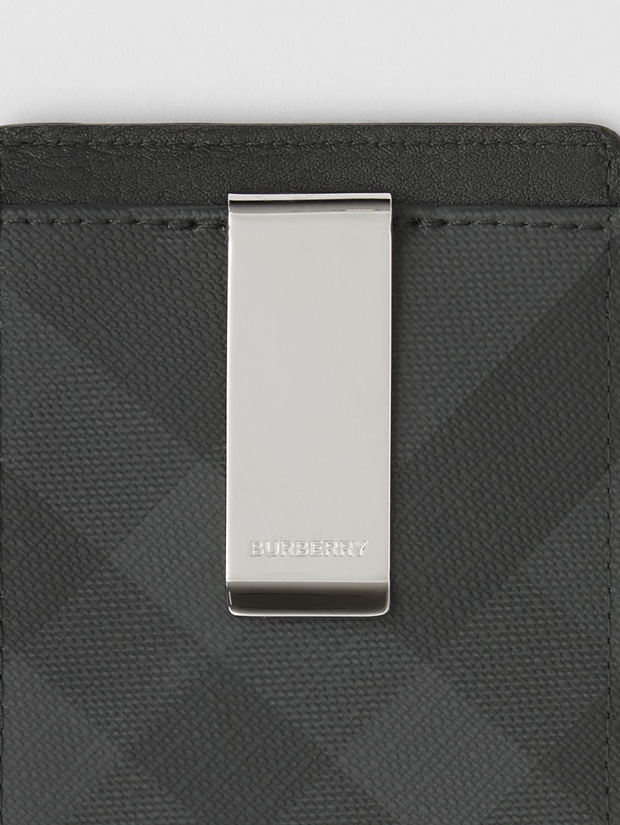 London Check and Leather Money Clip Card Case in Dark Charcoal