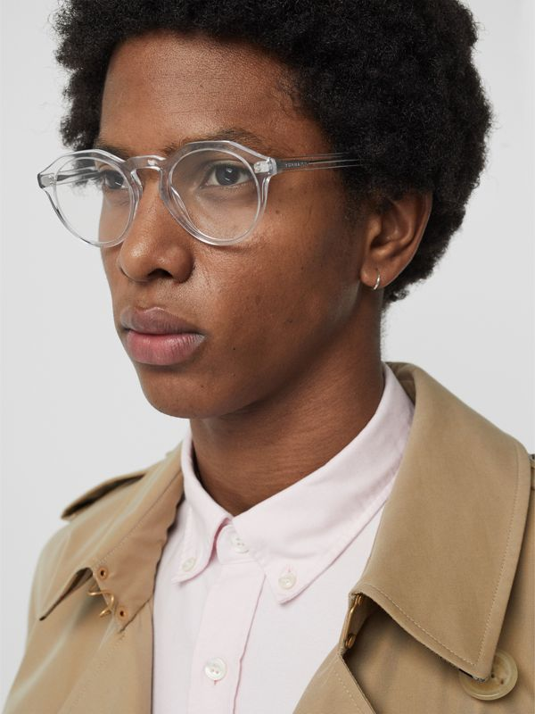 Keyhole Round Optical Frames in Crystal - Men | Burberry - cell image 2