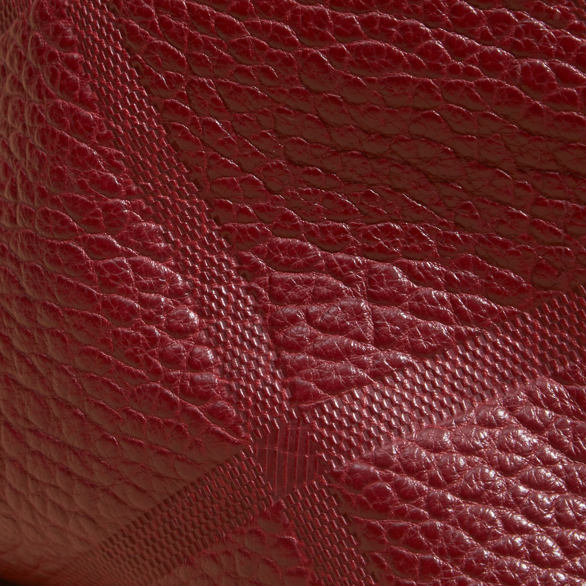 Deep red Small Embossed Check Leather Clutch Bag Deep Red - gallery image 2