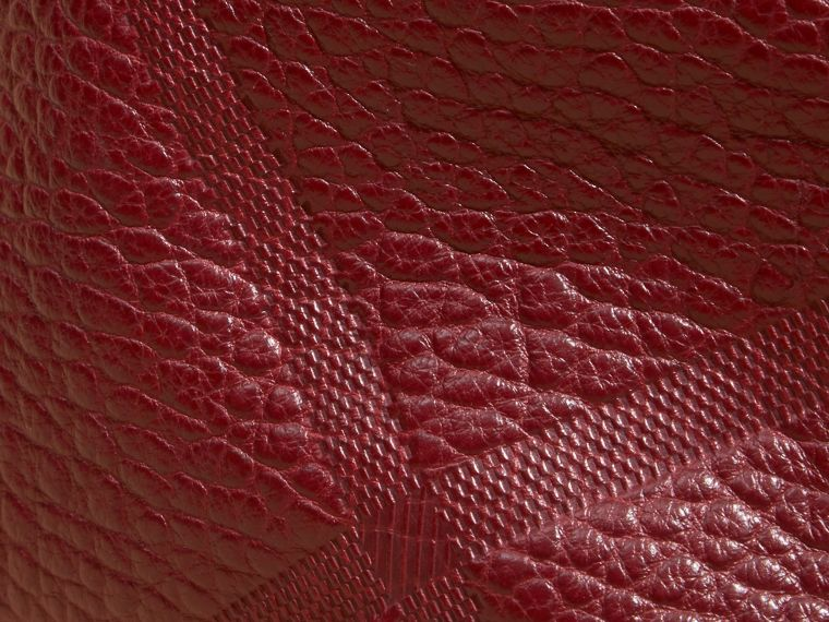 Deep red Small Embossed Check Leather Clutch Bag Deep Red - cell image 1