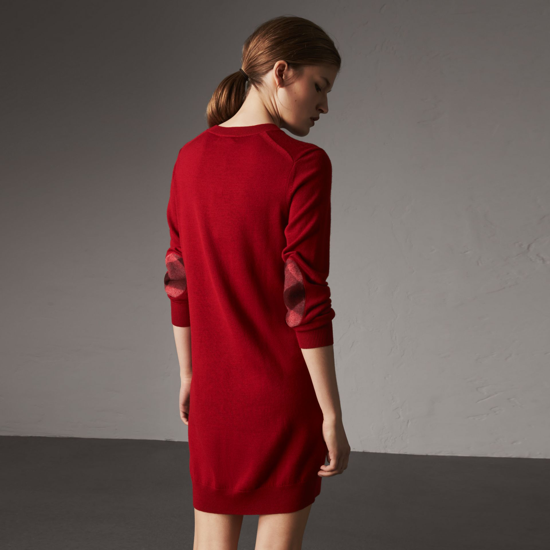 Check Elbow Detail Merino Wool Sweater Dress in Parade Red - Women | Burberry - gallery image 0