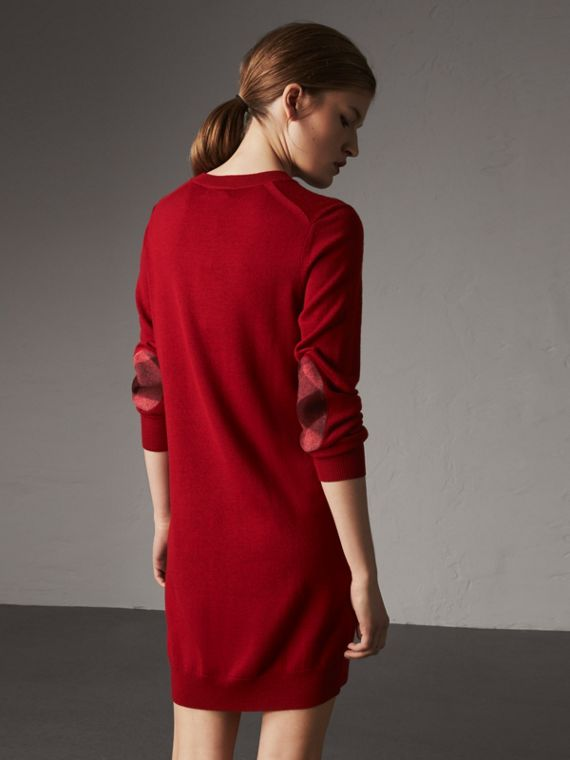 Check Elbow Detail Merino Wool Sweater Dress in Parade Red