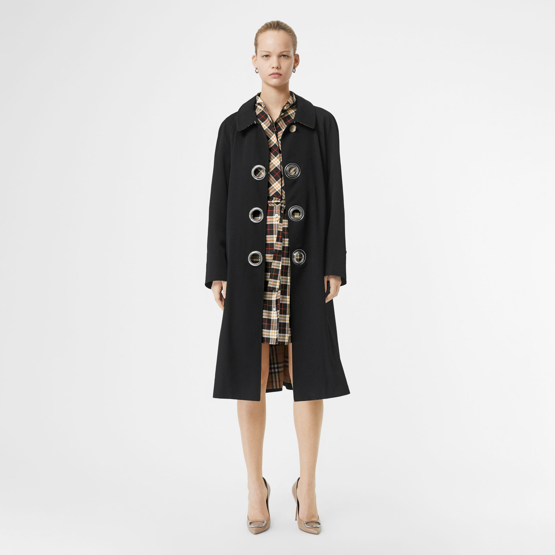 Check Cotton Tie-waist Shirt Dress in Midnight - Women | Burberry - gallery image 4
