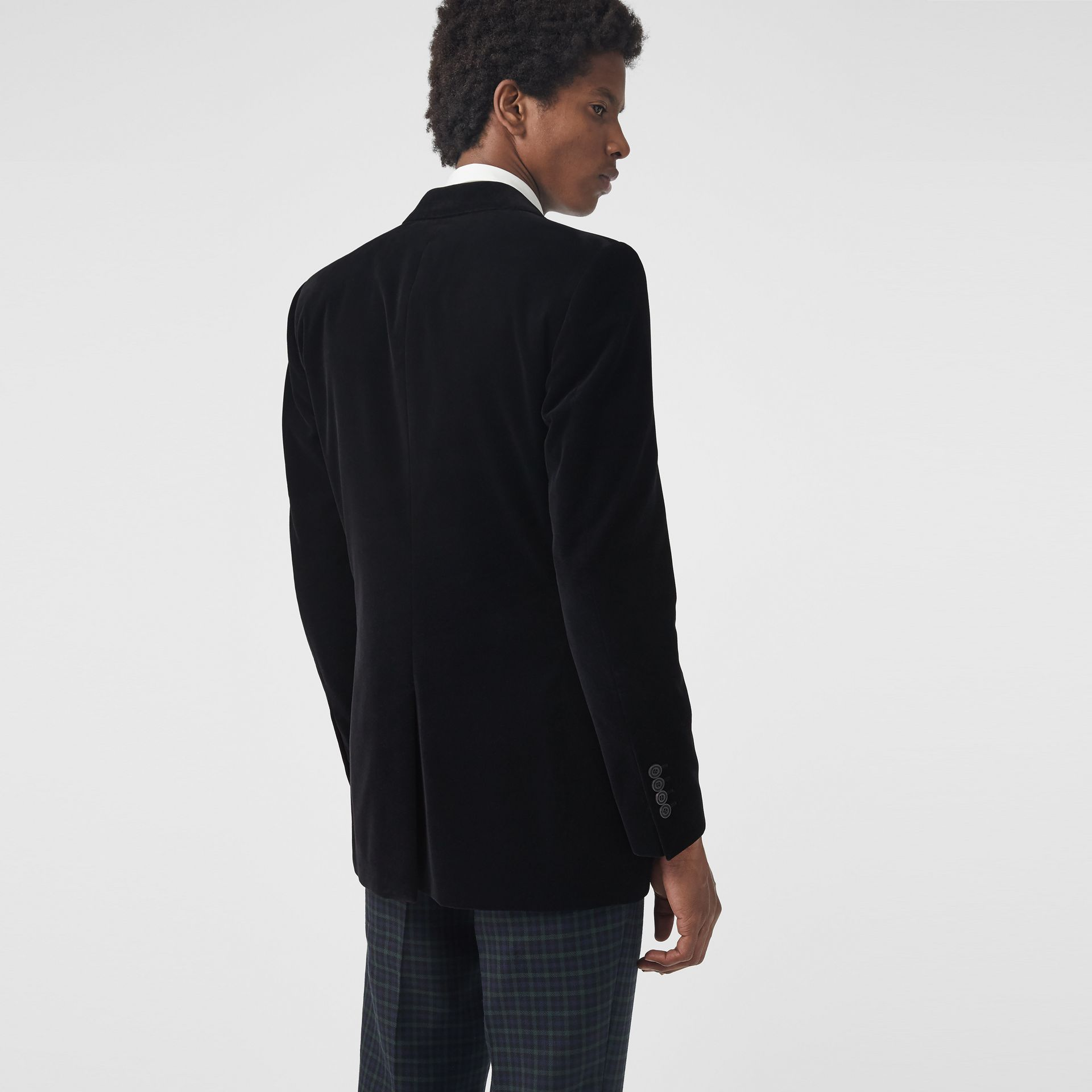 Classic Fit Velvet Tailored Jacket in Black - Men | Burberry - gallery image 2