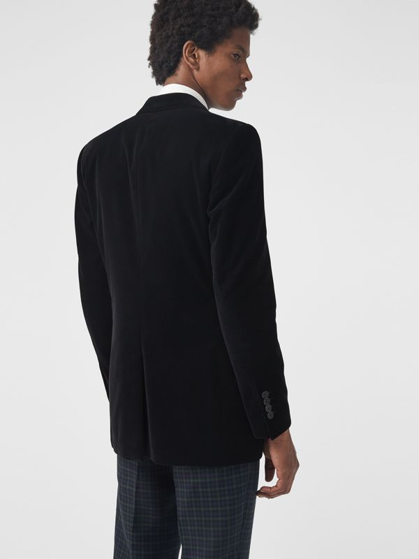 Classic Fit Velvet Tailored Jacket in Black - Men | Burberry United Kingdom - cell image 2