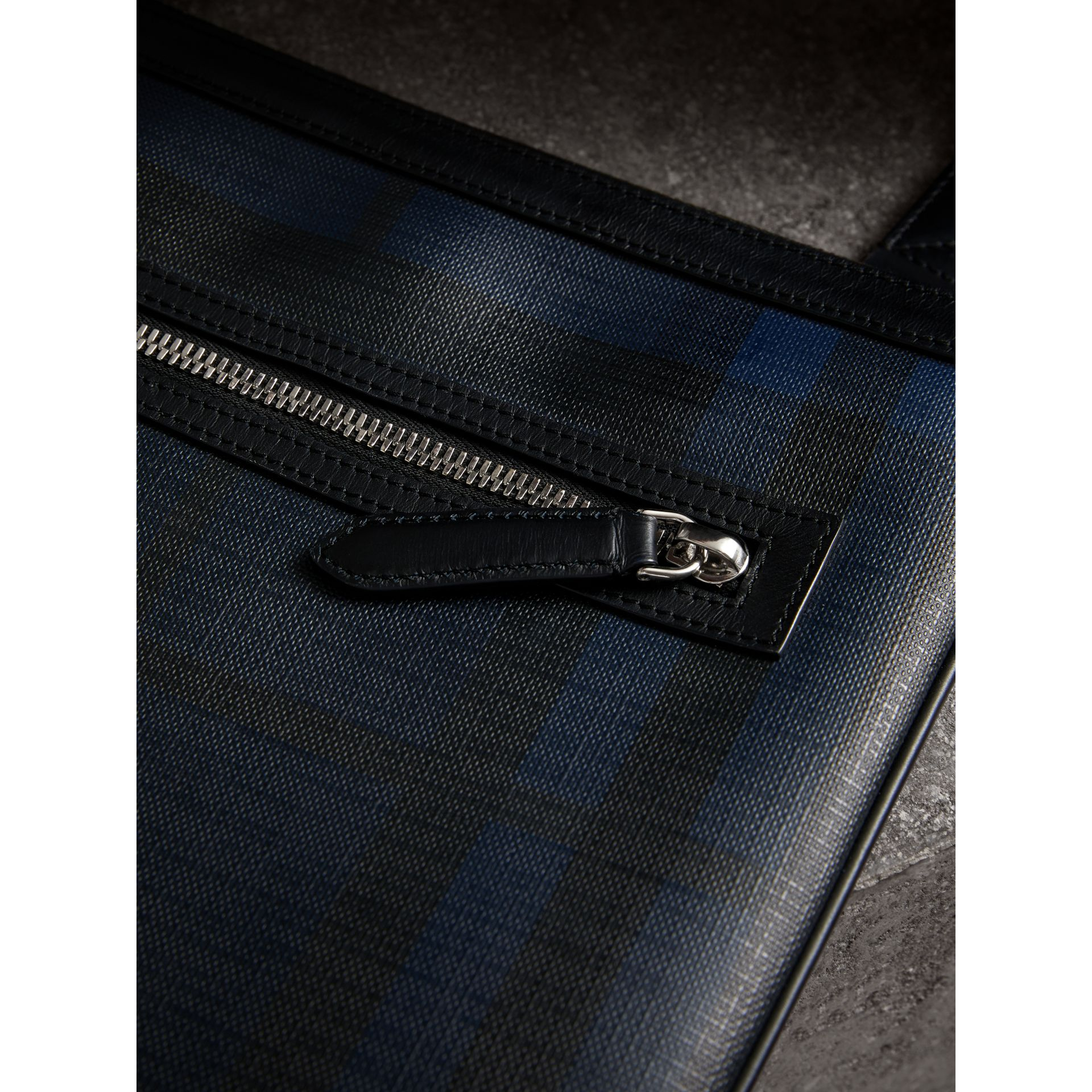 Leather Trim London Check Crossbody Bag in Navy/black - Men | Burberry Hong Kong - gallery image 1