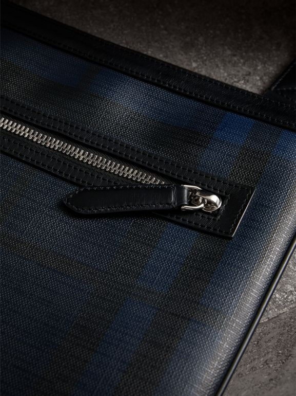 Leather Trim London Check Crossbody Bag in Navy/black - Men | Burberry Hong Kong - cell image 1