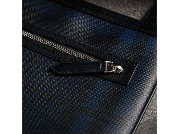 Leather Trim London Check Crossbody Bag in Navy/black - Men | Burberry United Kingdom - cell image 1