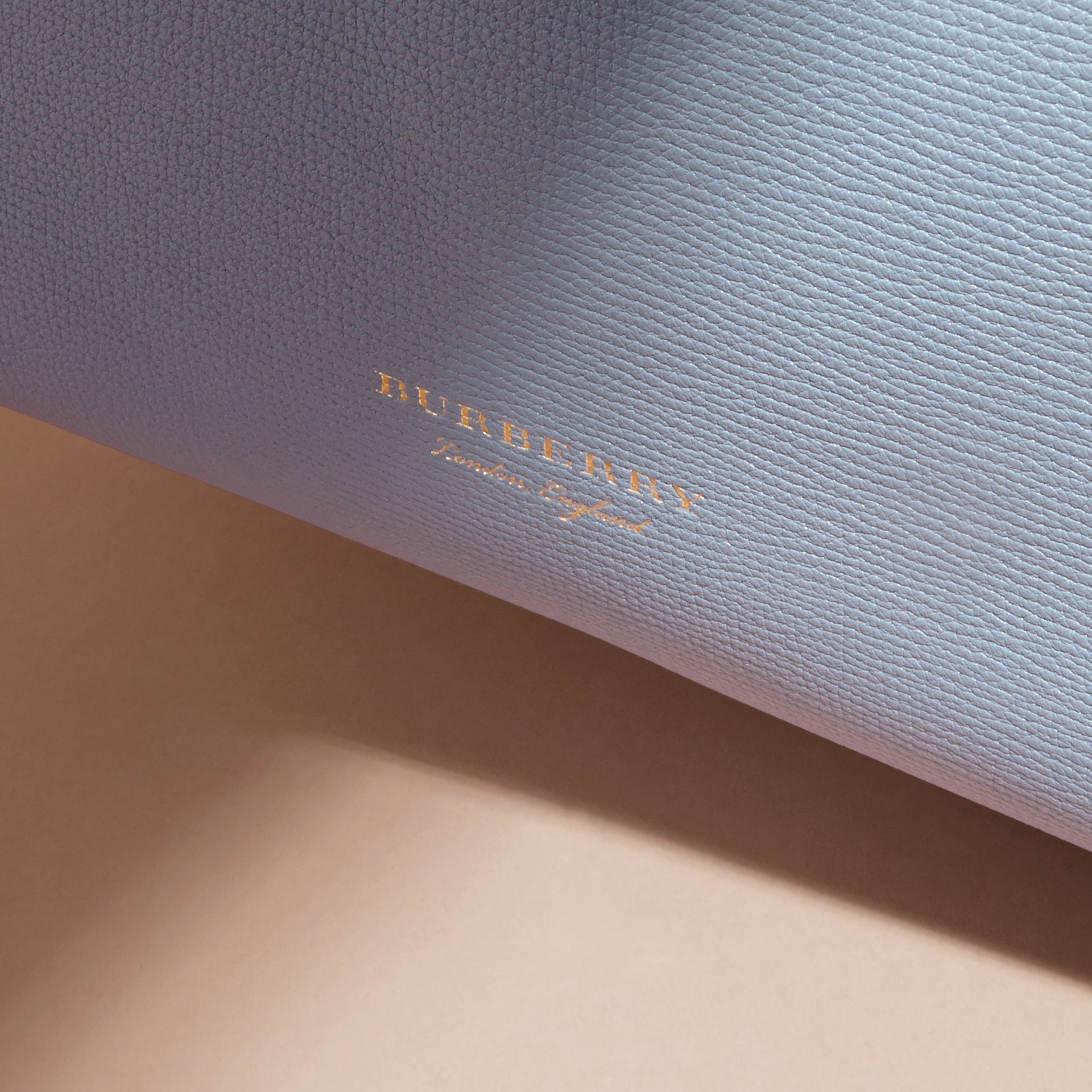 The Small Banner in Leather and House Check Slate Blue - gallery image 2