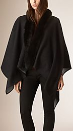 Fur-trimmed Merino Wool Poncho