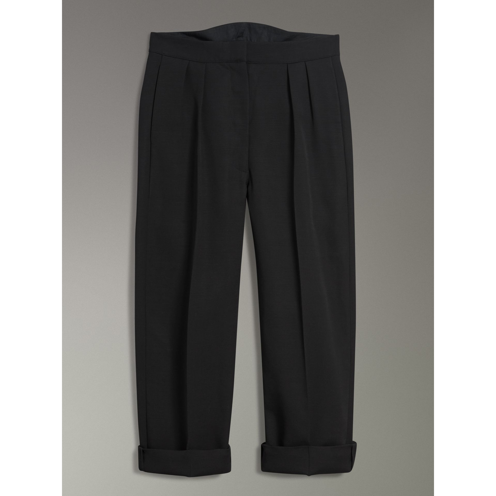 Wool Silk Cropped Tailored Trousers in Black - Women | Burberry - gallery image 3