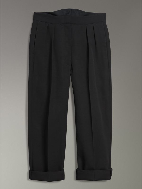 Wool Silk Cropped Tailored Trousers in Black - Women | Burberry Canada - cell image 3
