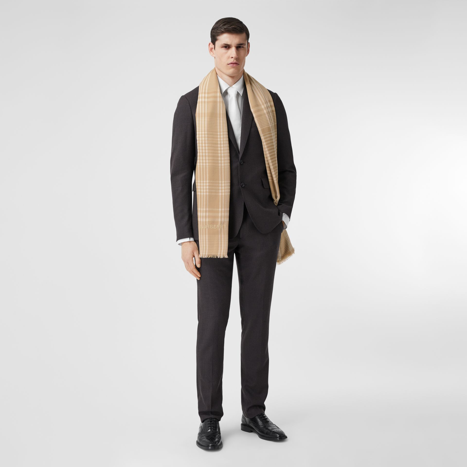 Logo Embroidered Lightweight Check Cashmere Scarf in Archive Beige/white | Burberry - gallery image 7
