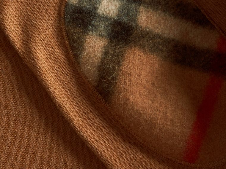 Camel Check Trim Cashmere Cotton Sweater Camel - cell image 1