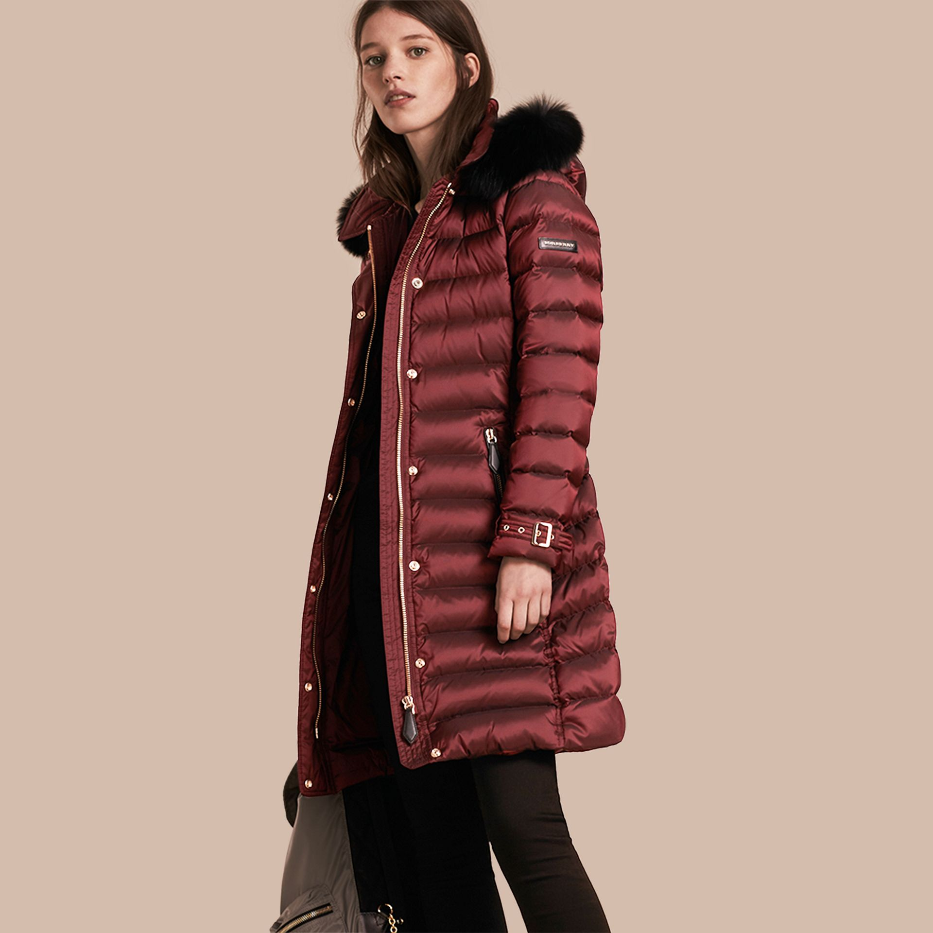 Down-filled Coat with Fox Fur Trim Hood in Burgundy - gallery image 1