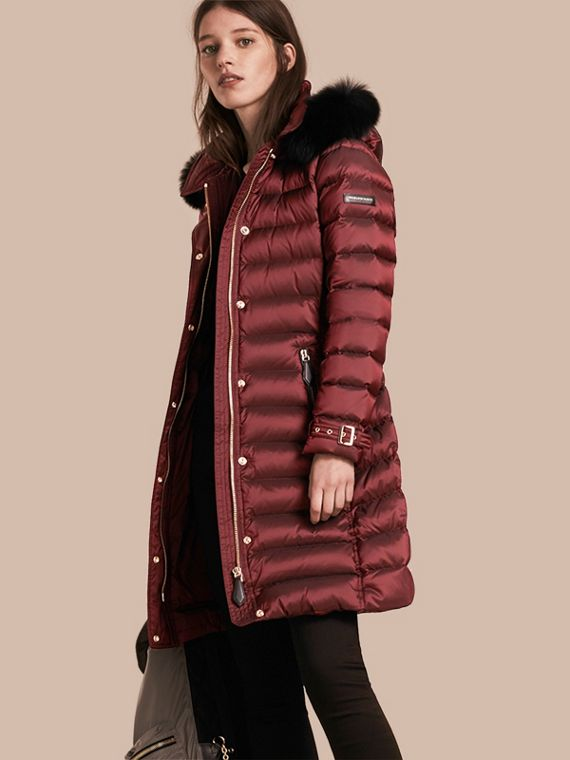 Down-filled Coat with Fox Fur Trim Hood in Burgundy - Women | Burberry