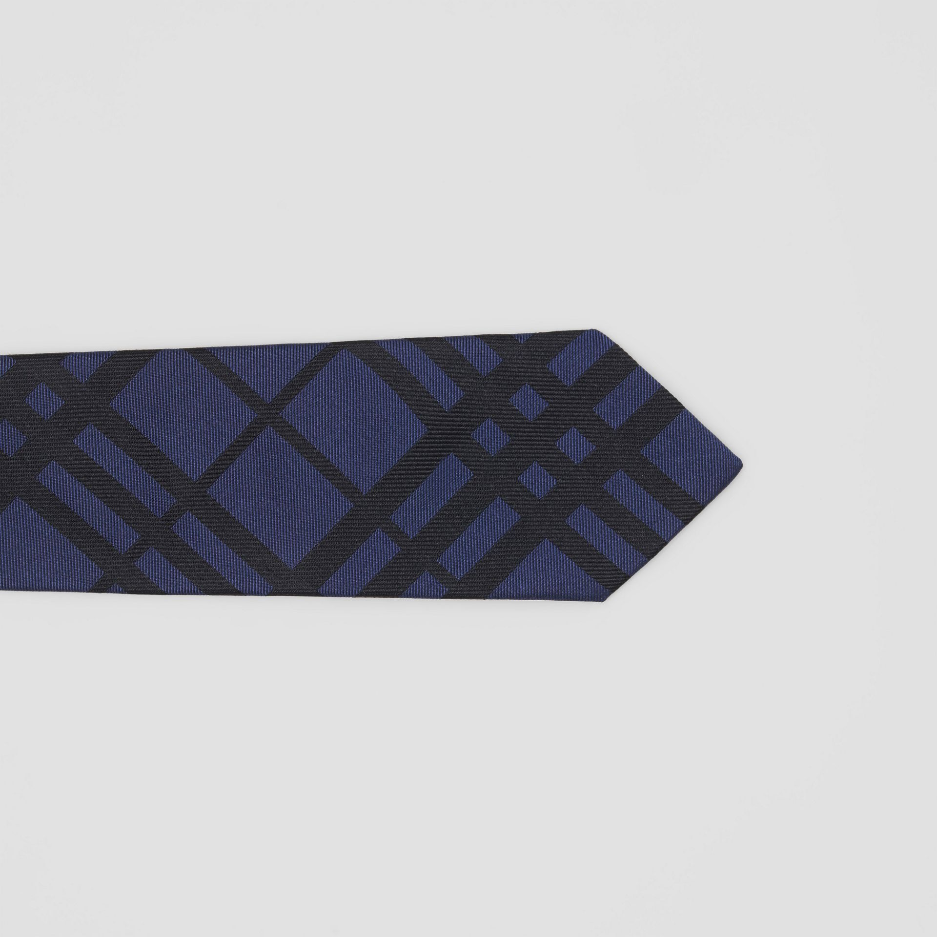 Classic Cut Check Silk Jacquard Tie in Navy - Men | Burberry Canada - gallery image 1