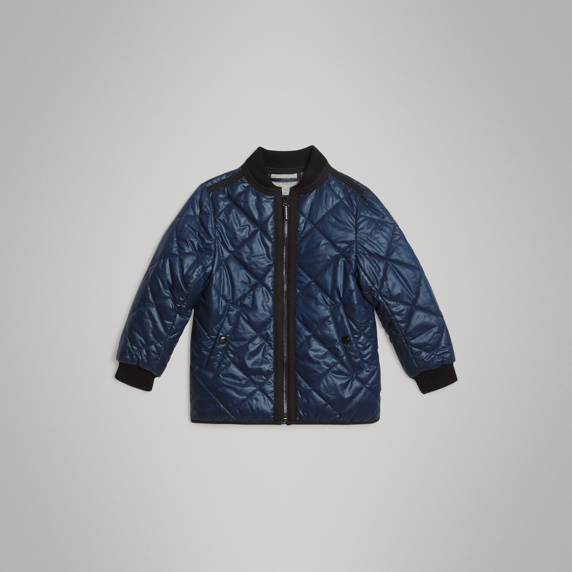 Showerproof Diamond Quilted Jacket in Navy | Burberry Australia - gallery image 0