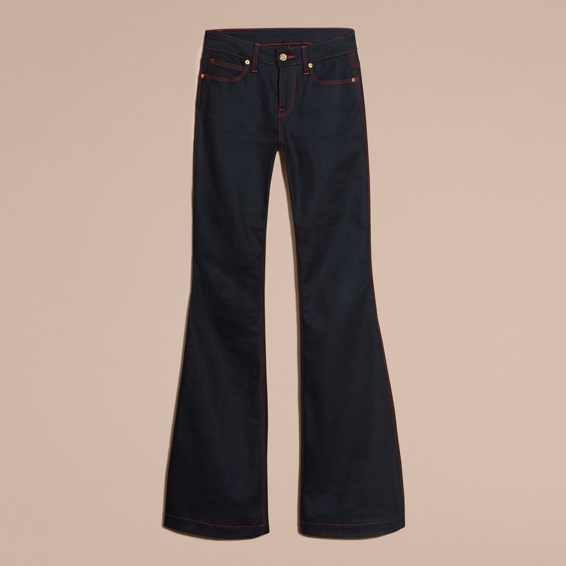 Indigo Flared Stretch Denim Jeans - gallery image 4