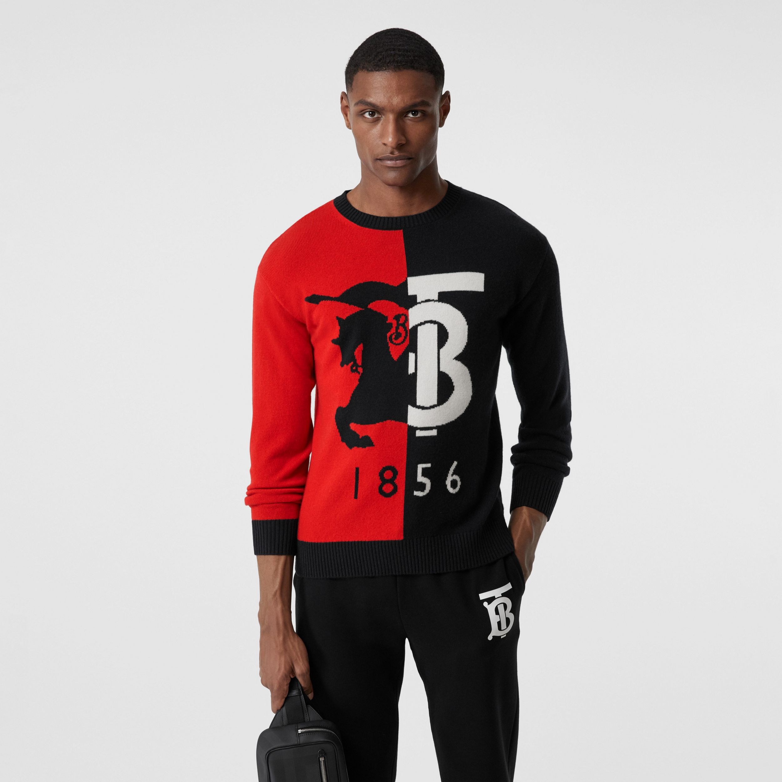 Contrast Logo Graphic Intarsia Cashmere Sweater in Black - Men | Burberry - 1