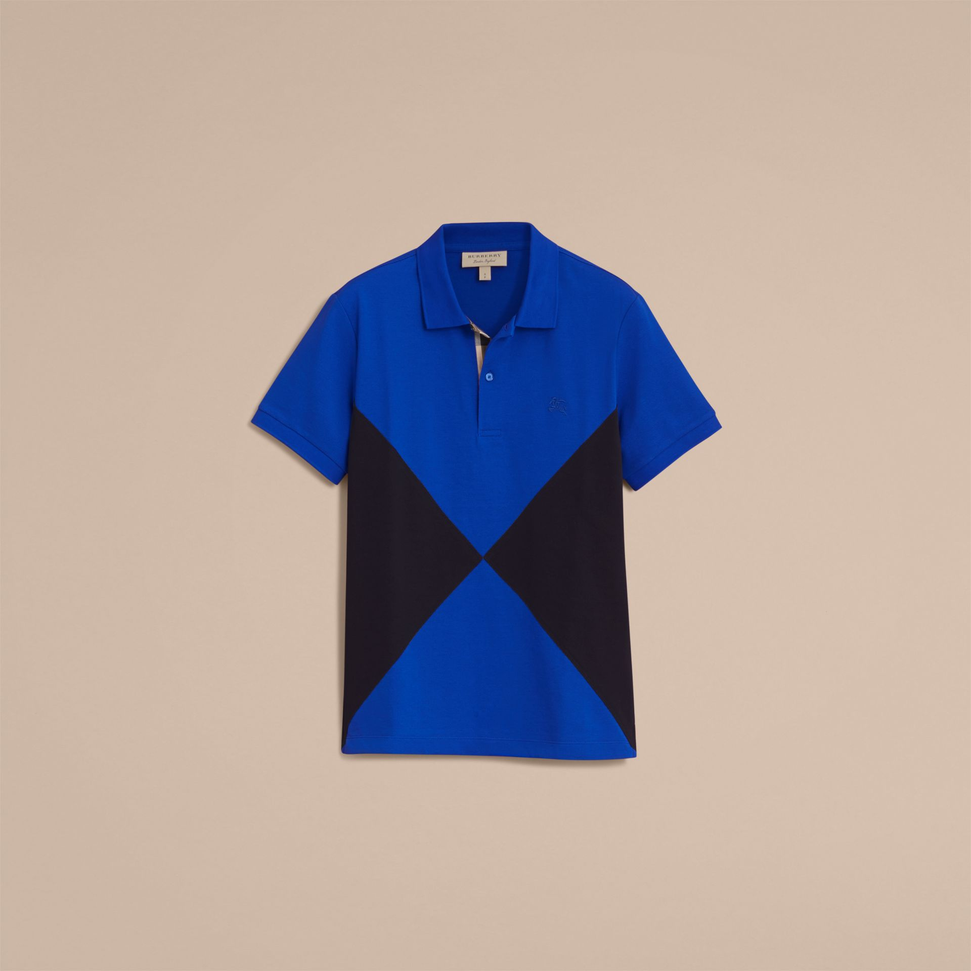 Geometric Motif Cotton Piqué Polo Shirt with Check Placket in Cobalt Blue - gallery image 4