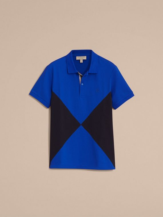 Geometric Motif Cotton Piqué Polo Shirt with Check Placket in Cobalt Blue - cell image 3