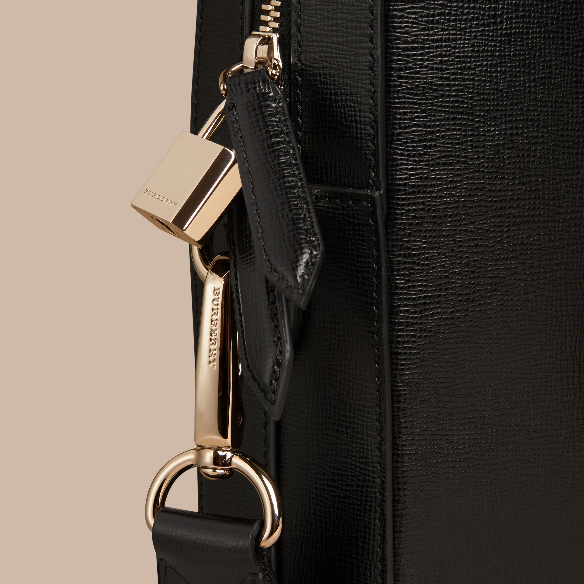 London Leather Briefcase in Black - Men | Burberry - gallery image 6
