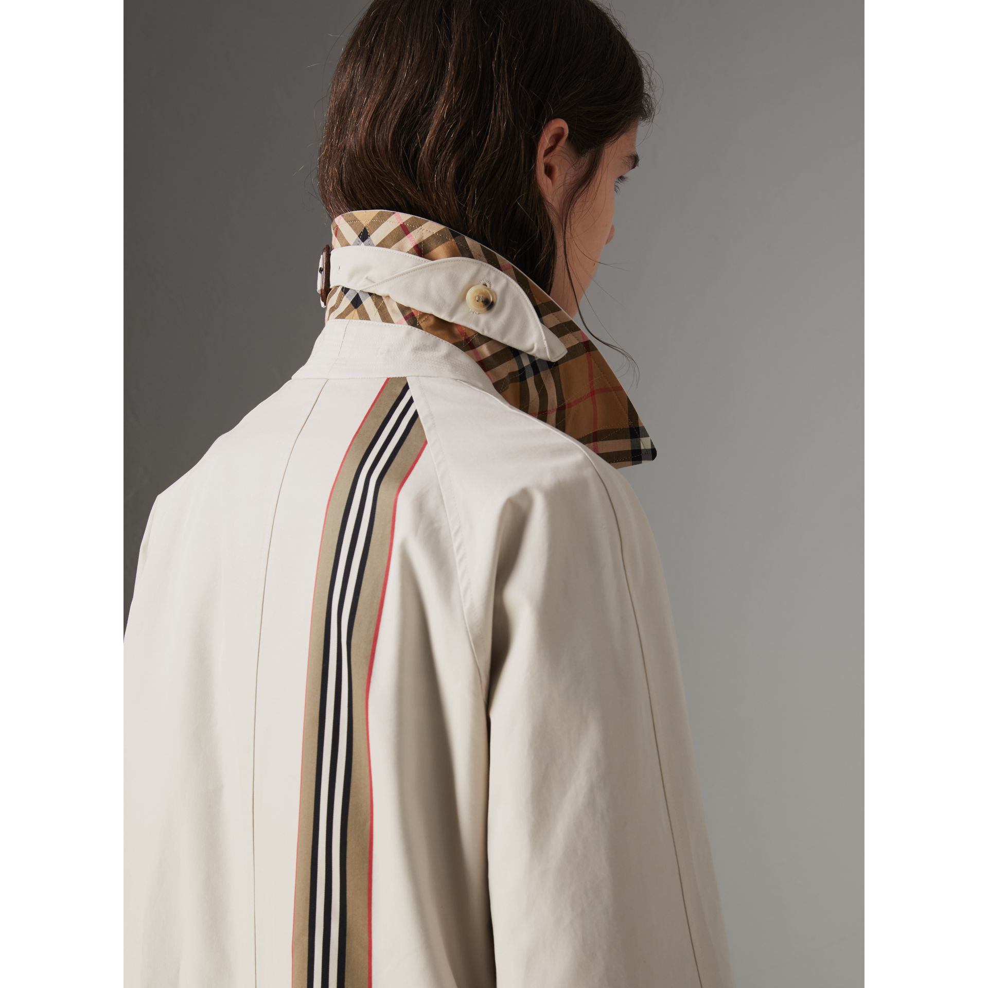 Striped Ribbon Cotton Gabardine Car Coat in Stone - Women | Burberry - gallery image 4