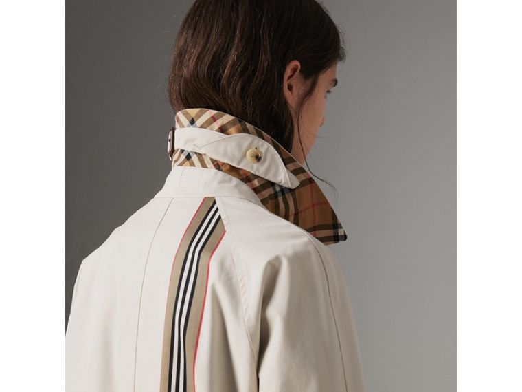 Heritage Stripe Cotton Gabardine Car Coat in Stone - Women | Burberry - cell image 4
