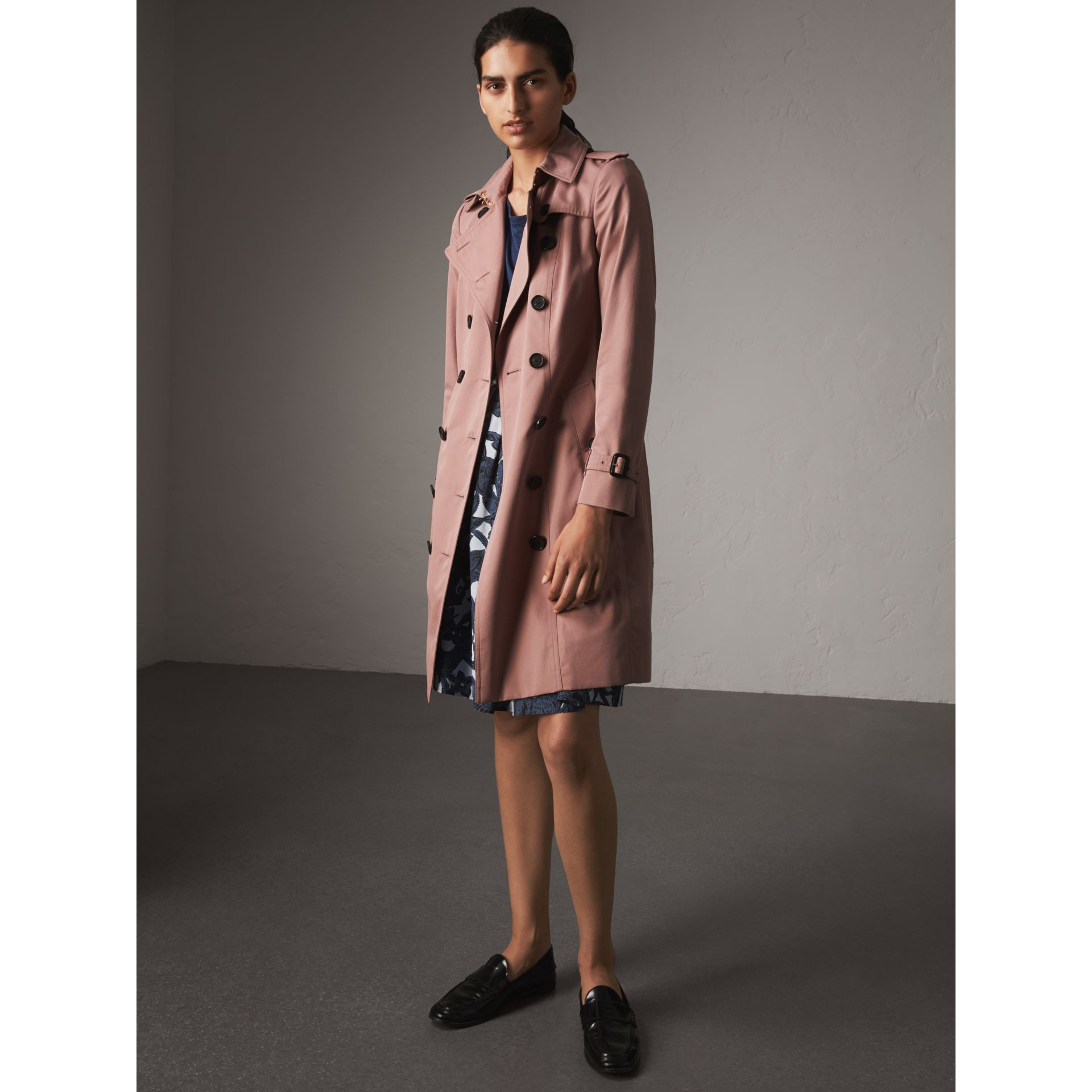 Cotton Gabardine Long Trench Coat in Blush - Women | Burberry - gallery image 1