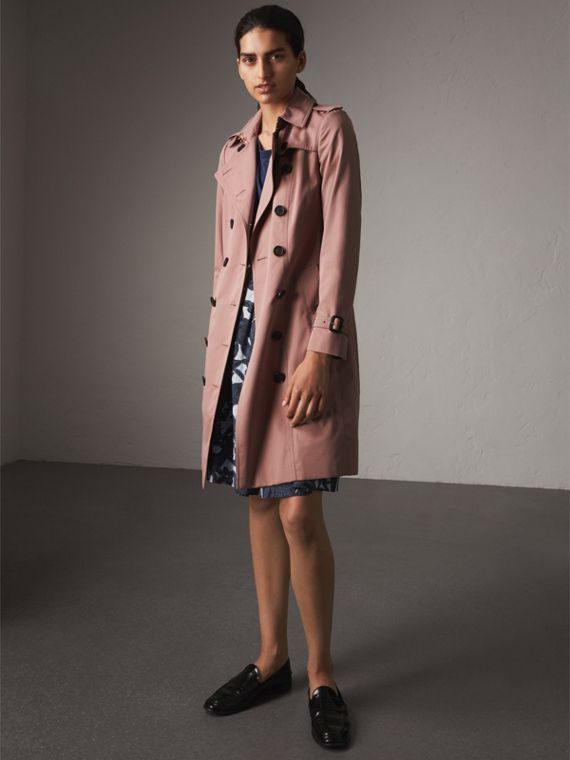 Cotton Gabardine Long Trench Coat in Blush