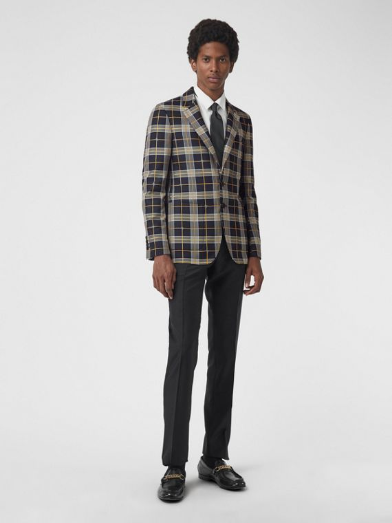 Slim Fit Equestrian Knight Check Tailored Jacket in Navy
